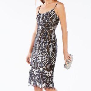 BCBGMaxAzria Alese Geo Lace Dress, silver/black